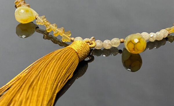 chalcedony tassel necklace