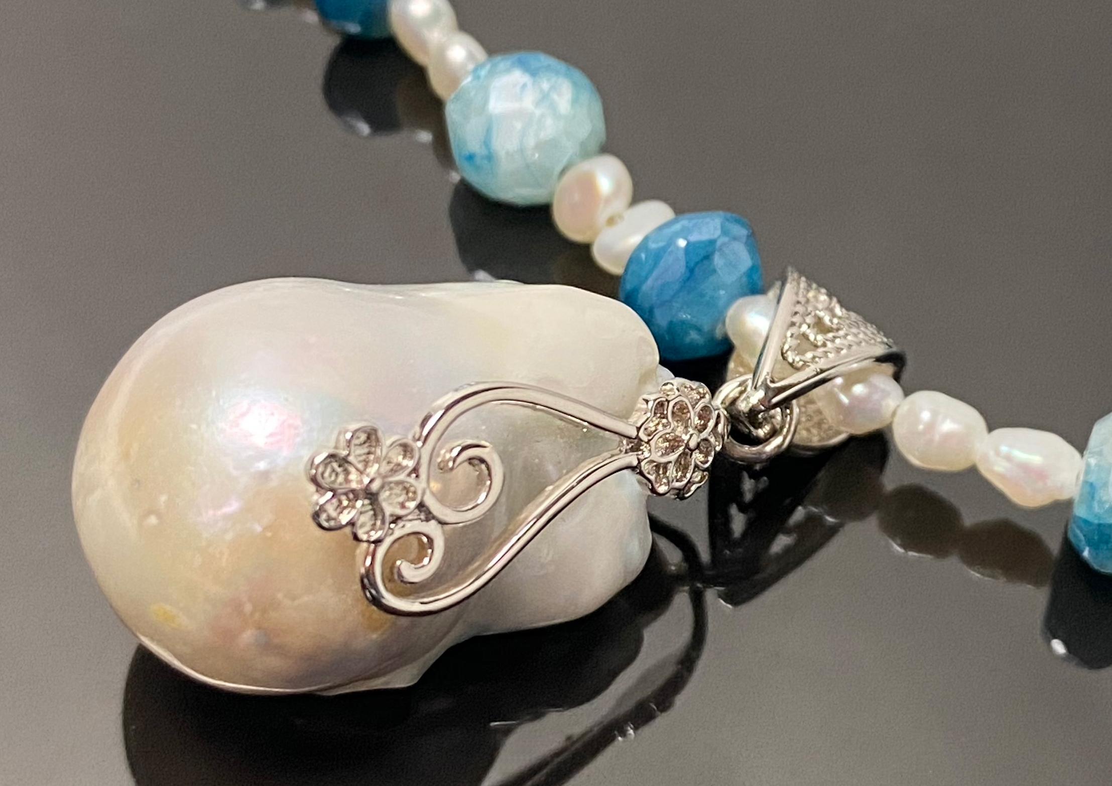 Moonstone Pearl Pendant