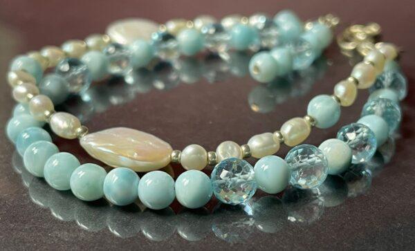 larimar topaz pearl bracelet 4