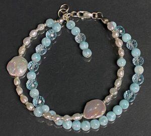 larimar topaz pearl bracelet